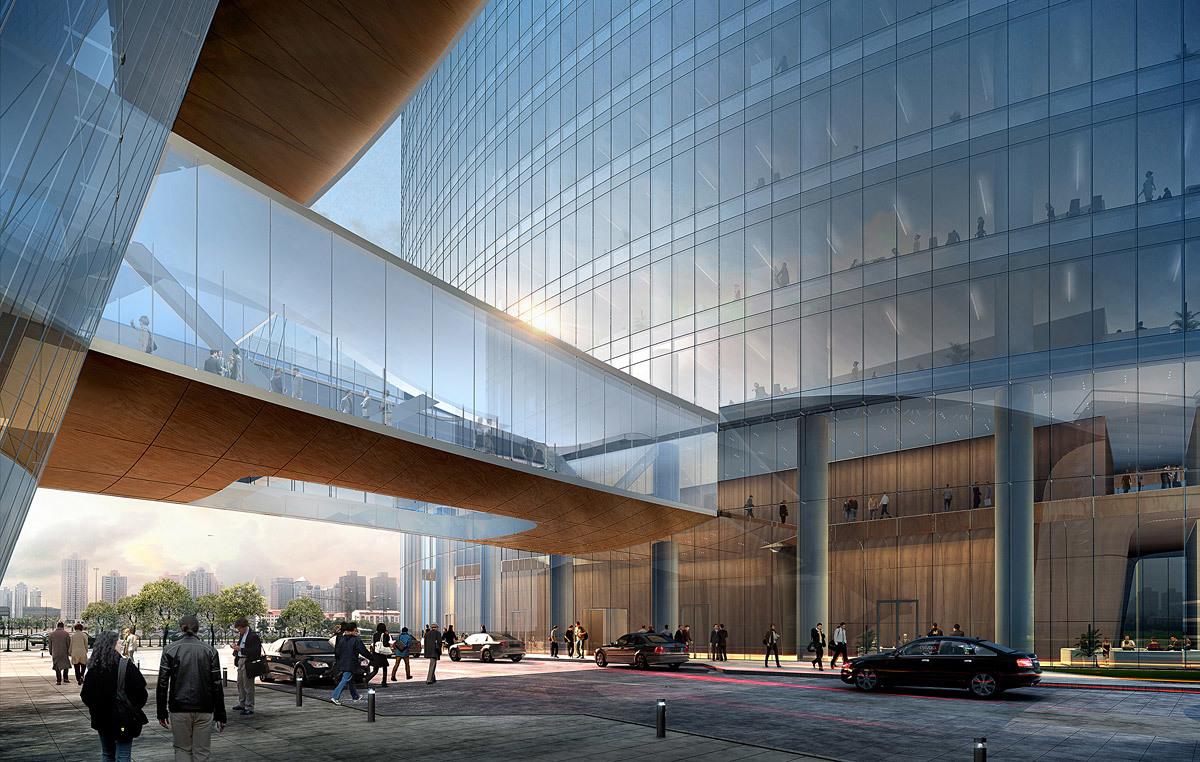 Qintai hotel drop-off (Image: Adrian Smith + Gordon Gill Architecture)