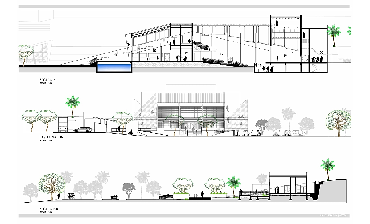 Ping Mall Plan Elevation Section : Nassau community cultural center randy seraphin archinect