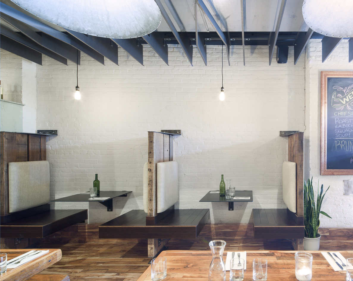 MOOBURGER - Booths featuring reclaimed timber backs & patinaed steel plate tables