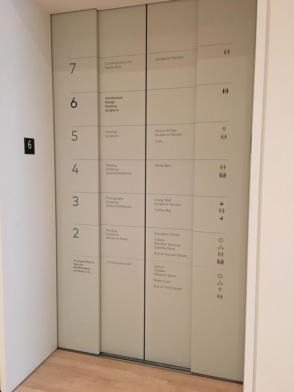 The informative elevator doors; photo: Julia Ingalls.