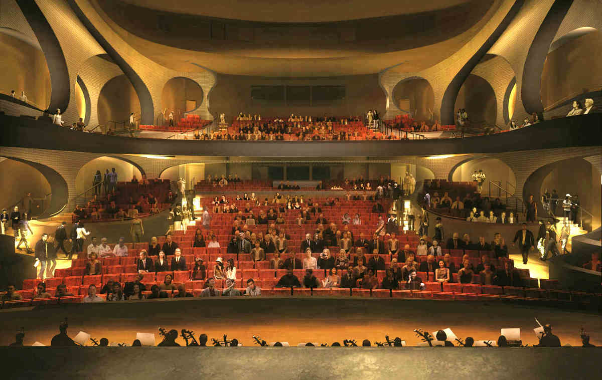 View from the stage towards the auditorium inside the Main Theatre