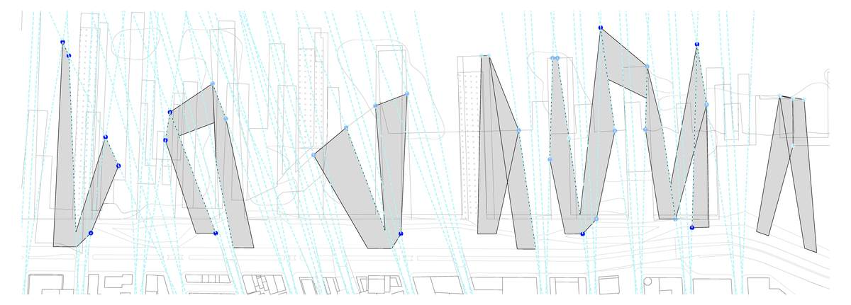 The view corridor lines from within the city, as well as the layering of historic pier outlines, serve as informants to derive the geometry of the upperscape buildings. By extrapolating points of intersection among these sets of lines, the buildings are tectonically connected to each other and to the urban fabric.