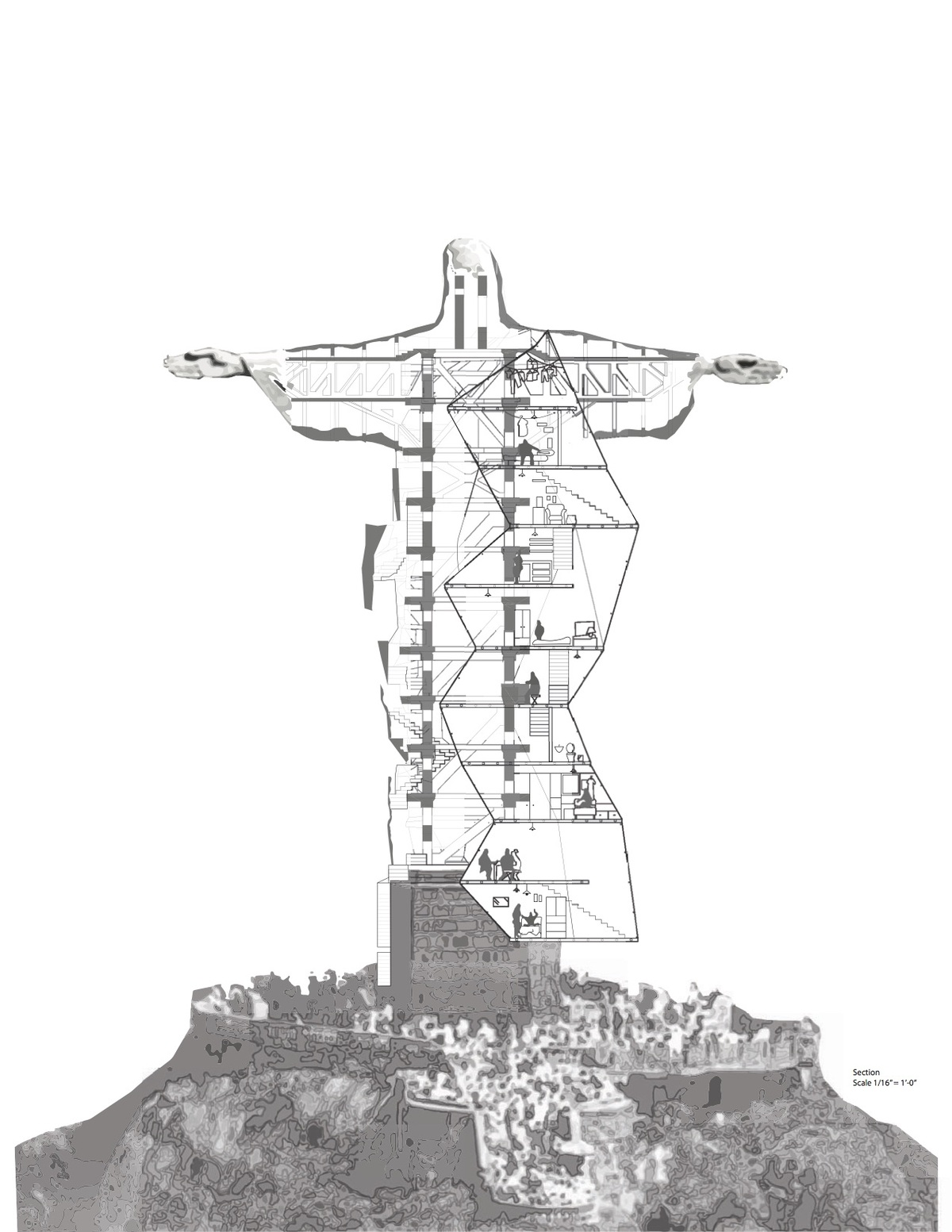 The reconfigured monumentality of Rio de Janeiros Christ, The Redeemer statue highlights the reality of slum tourism in Daniela Martinez-Hernandezs project for the Frank Clementi Studio.