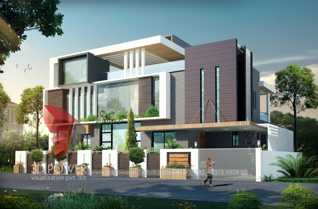 3d ultra modern bungalow exterior day rendering and for Ultra contemporary homes