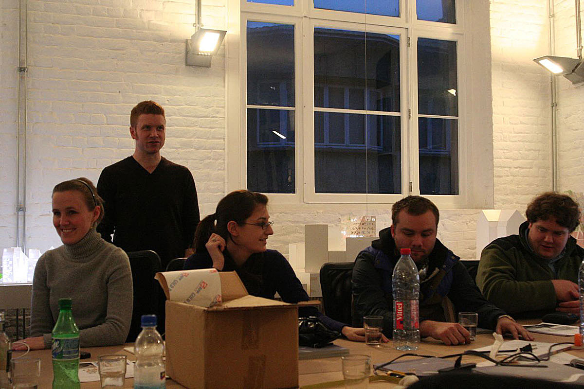 Jason Scroggin in back, UK/CoD Assistant Professor of Architecture