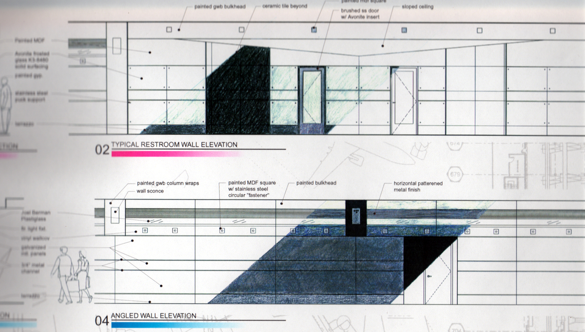 Elevations of proposed angled 'stealth' walls - typical corridor