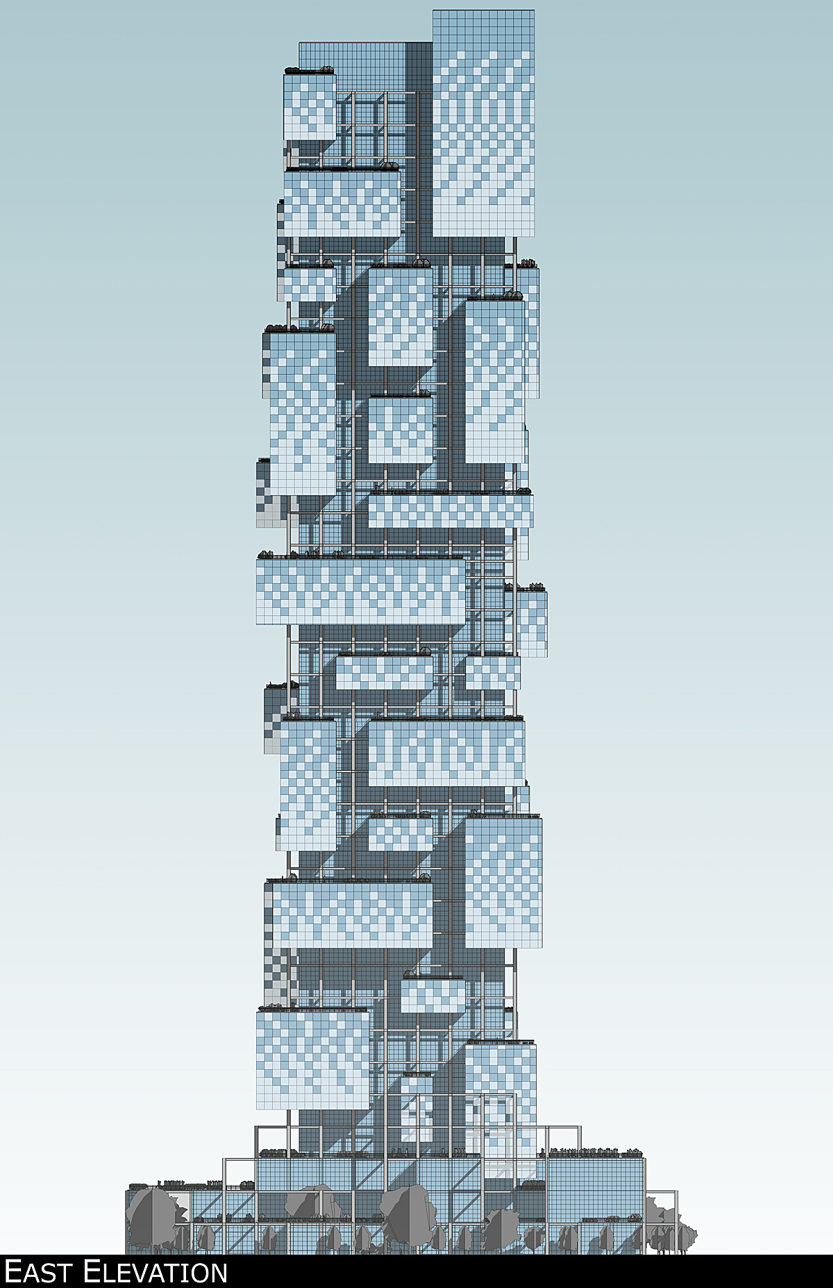 East elevation rendering showing alternative pattern with smart glass
