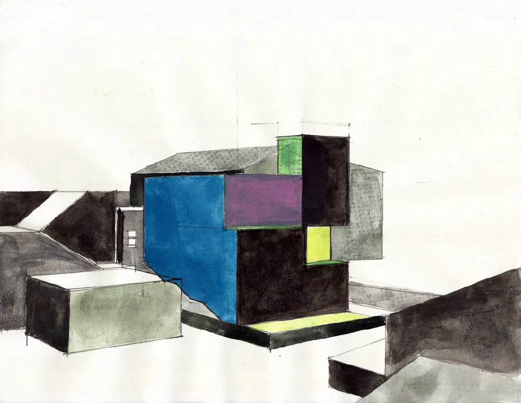 A watercolor by ZellnerandCompany entitled House Two. Credit: ZELLNERandCompany