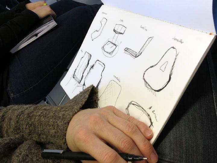 Julie Scheu sketching our designs