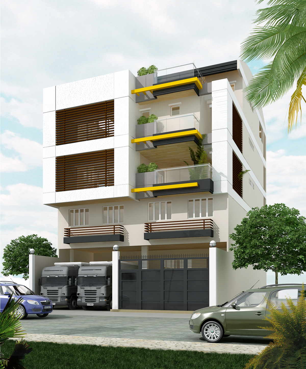 4 storey mixed use building with mezzanine rabbi chester for Modern commercial building design in the philippines