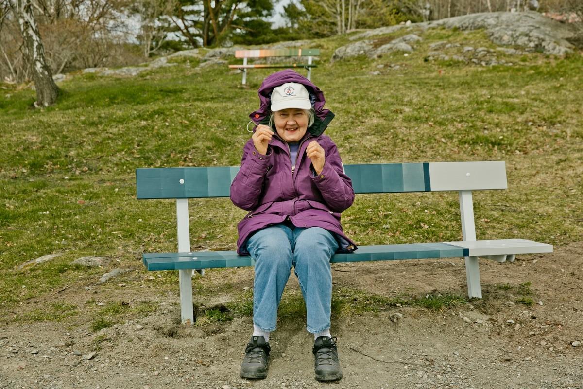 A woman sits on a SUPERBENCH. Credit: Jezzica Sunmo