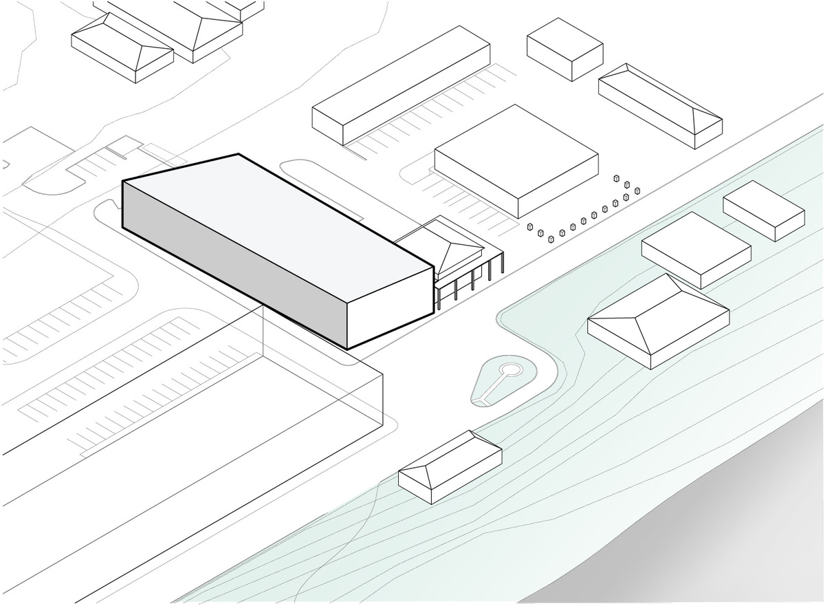 Diagram: mass on site + context relationship. Illustration courtesy of Trahan Architects