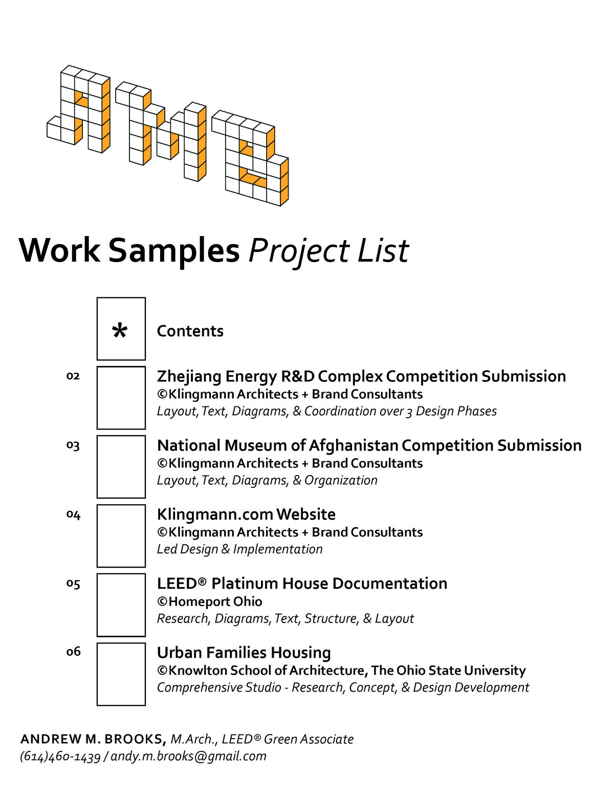 Work Samples Andrew Brooks Archinect