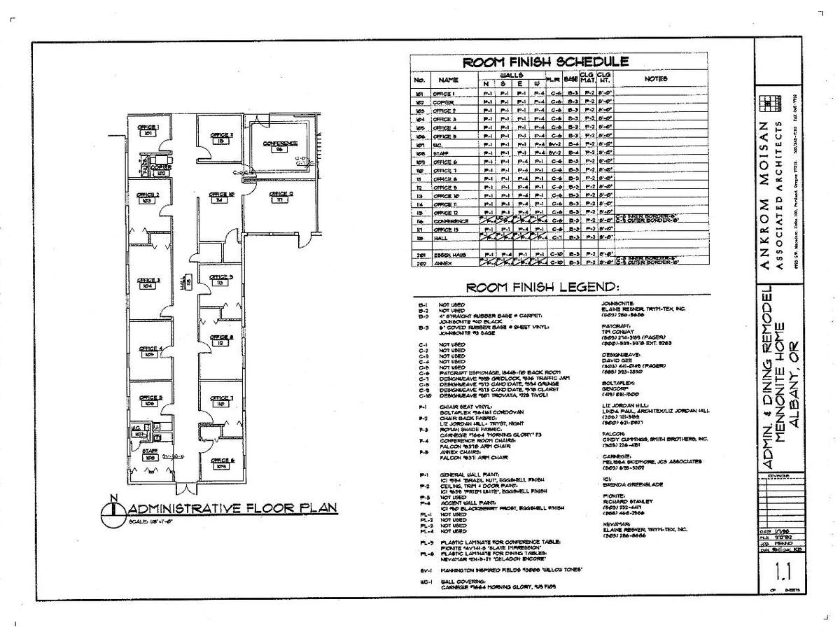 Administrative Office Plan and Room Finish Schedule