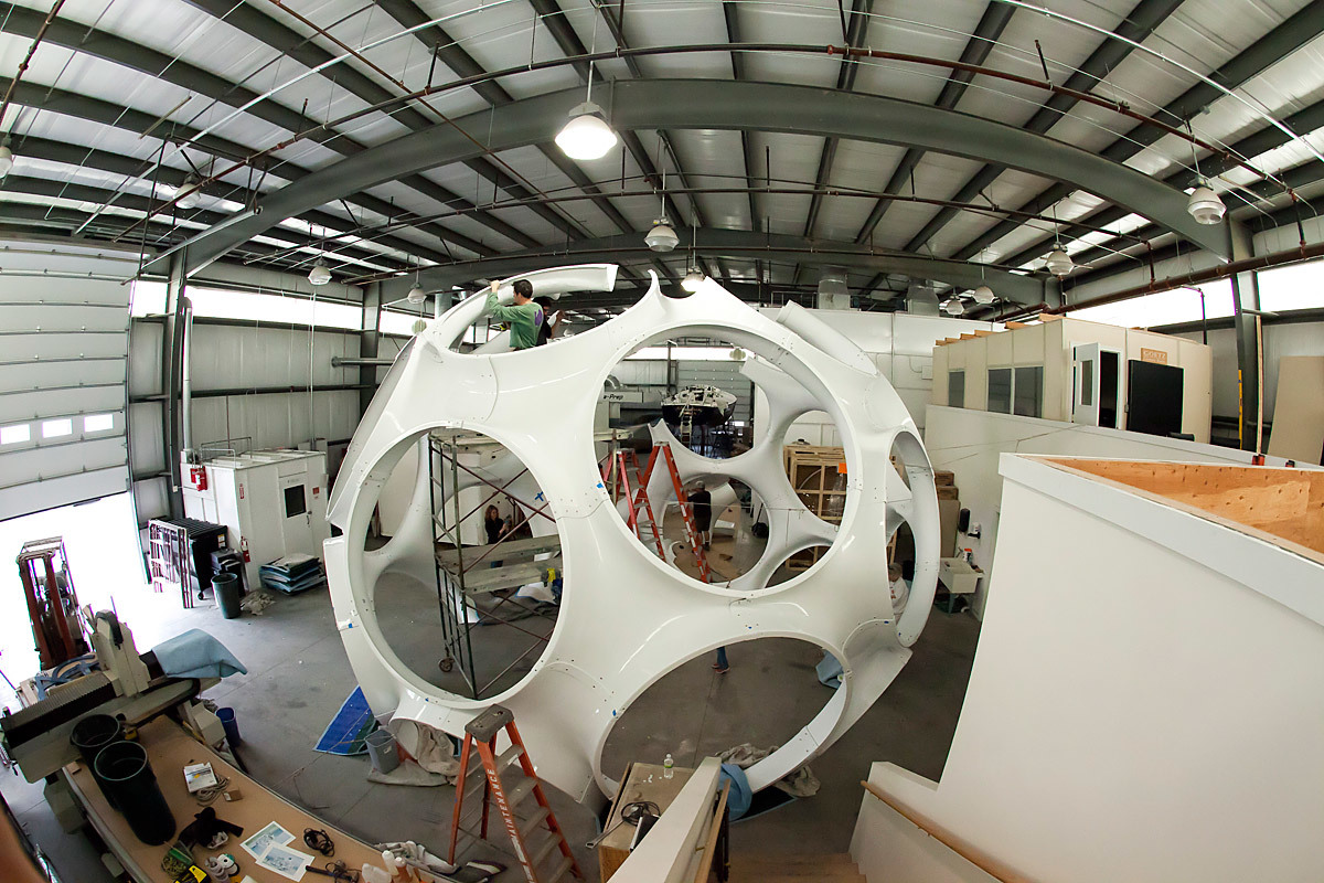 Fly's Eye Dome restoration at Goetz Boats in Bristol, RI (Photo: Ira Garber)