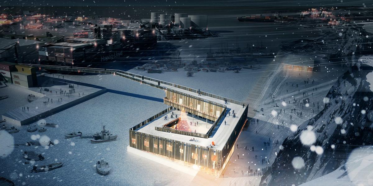 Rendering, Market Harbor, winter (Image: David Garcia Studio and Henning Larsen Architects)