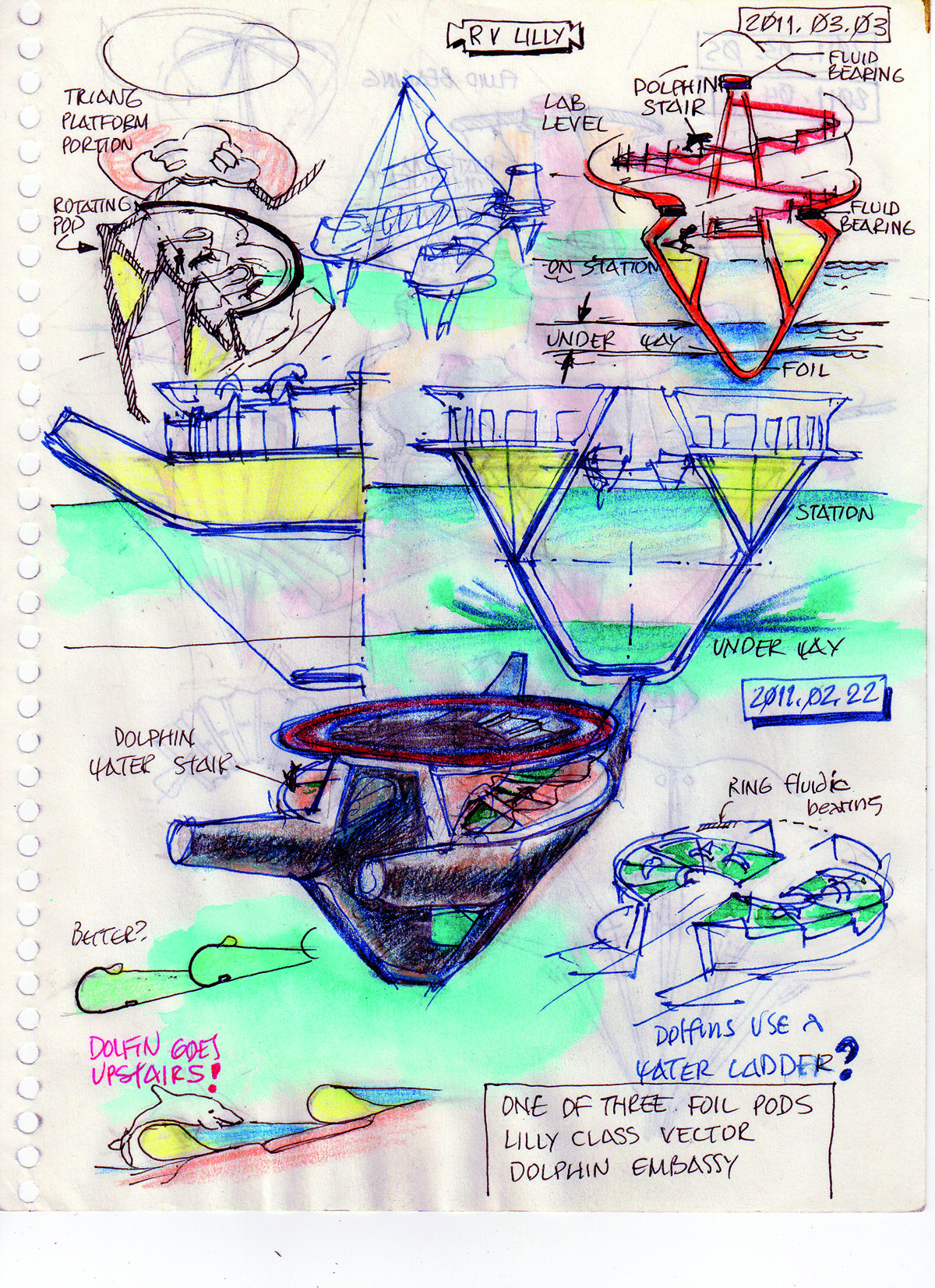 Recent Dolphin Spiral Stair sketches by Embassy designer Curtis Schreier. Curtis Schreier, RV Lilly, 2011.03.05. 2011, pen and colored pencil on paper, 8x10in. Personal sketchbook of Curtis Schreier.