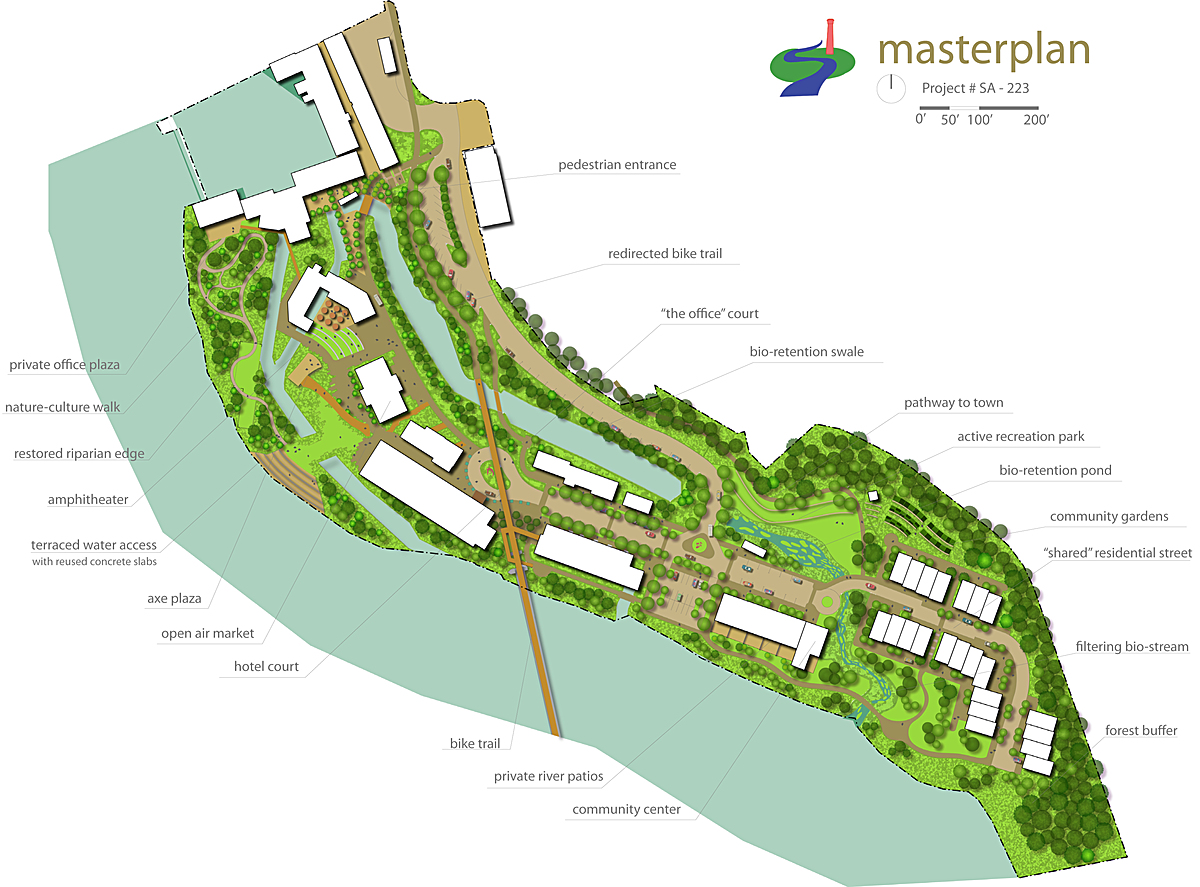 Masterplan drafting in AutoCAD and rendered in Adobe Illustrator