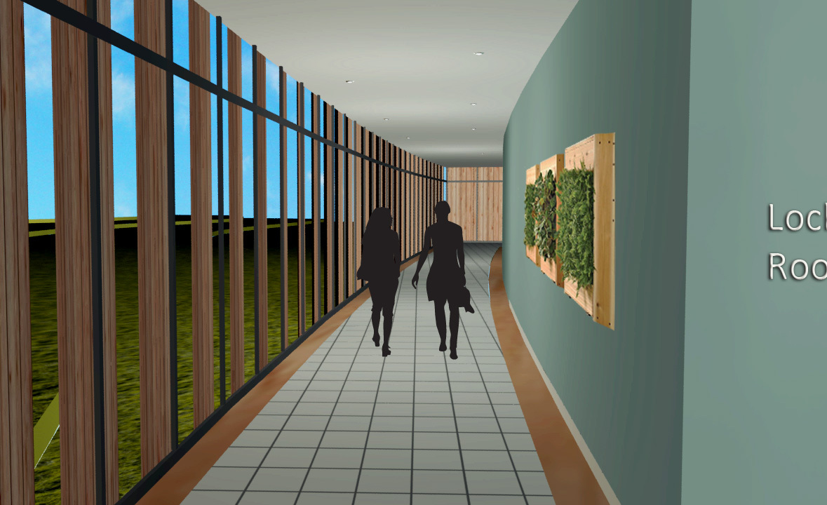 Aquatic Hallway- The view shows the connection with the outdoors while providing a safe feeling for the patients. Many soldiers don't like being in open spaces, which makes them feel like a target.