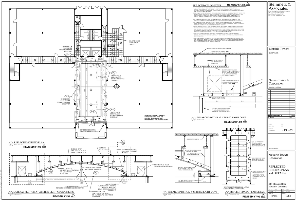 Reflective ceiling plan and details