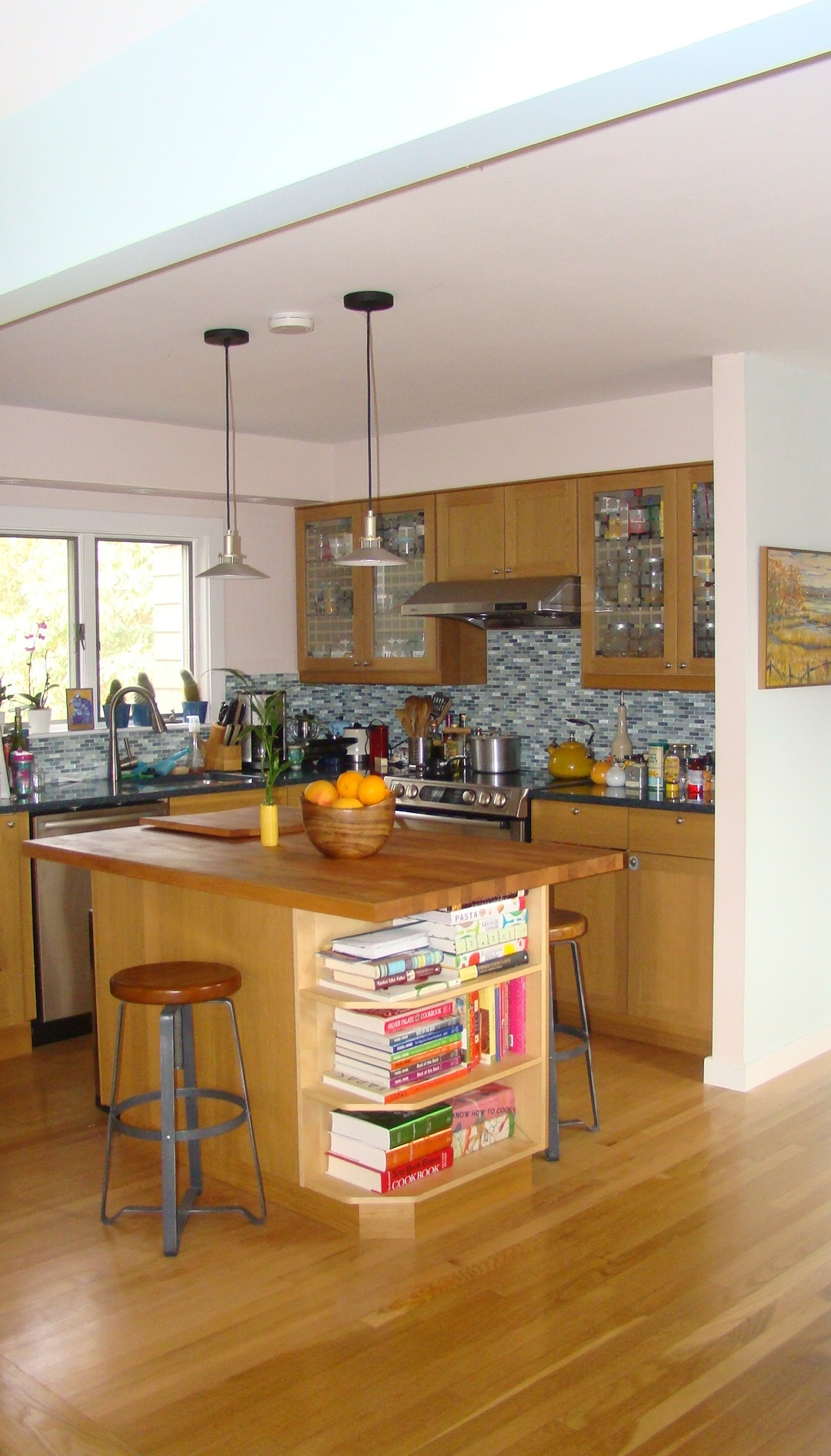 open to the living area kitchen