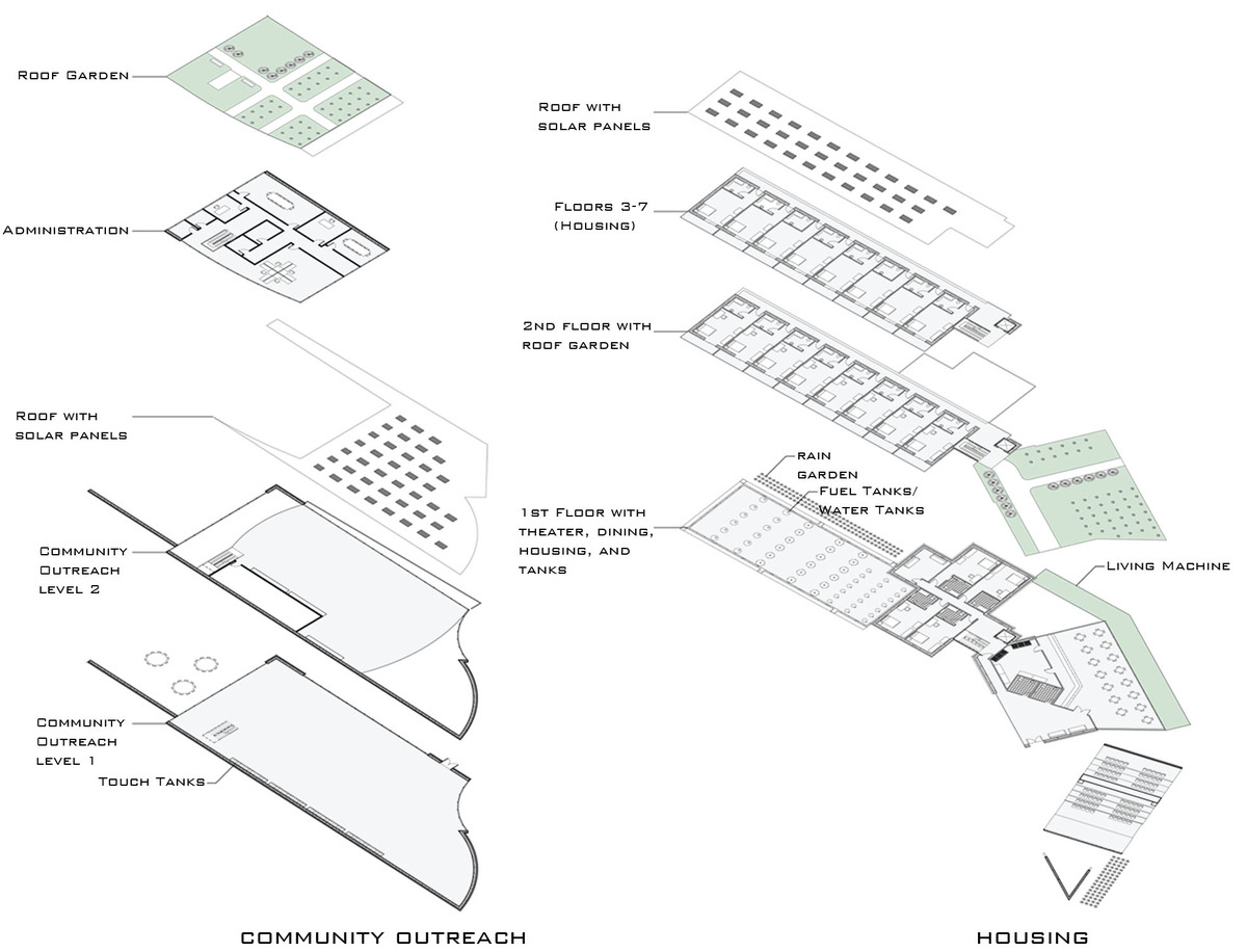 Housing and Community Outreach Axomometric Plans
