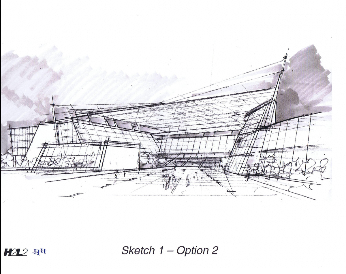 Sketch, view from covered plaza 1