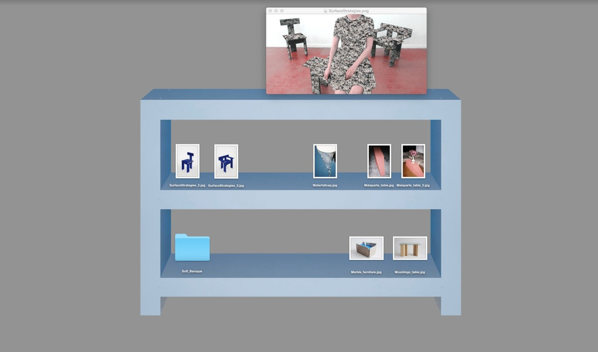 Desktop shelf, designed for an exhibit at the Swiss Institute in New York, is a physical shelf designed to be photographed and used as a desktop organizer as well.