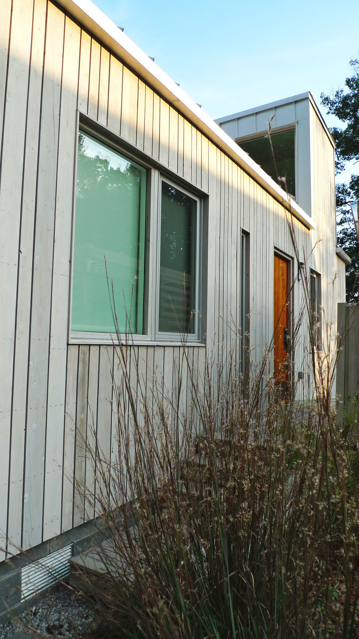The late summer texture and color of Little Bluestem (Schizachyrium scoparium) complement the colors of the home