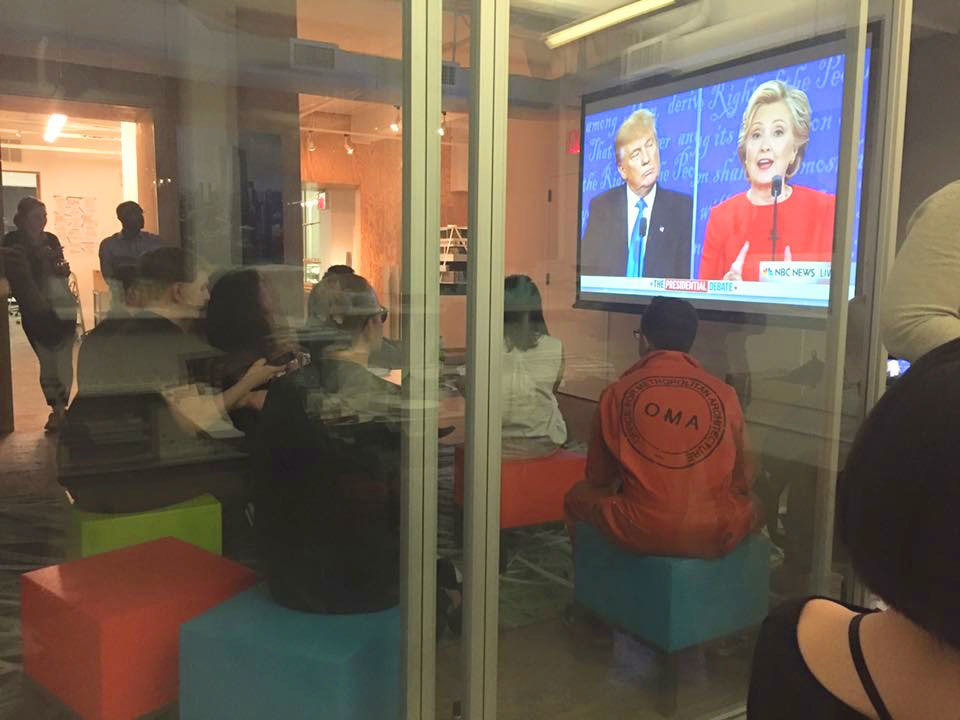 Watching one of the 2016 U.S. presidential debates. Photo courtesy of OMA New York.