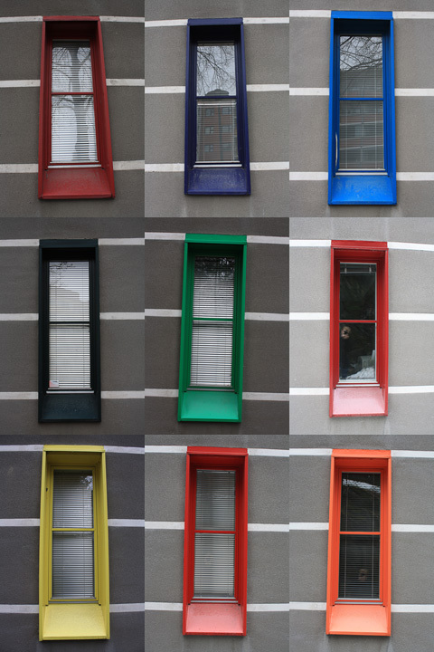 Playful window frames of Juhani Pallasmaas addition to the Court of appeal, in Kuopio
