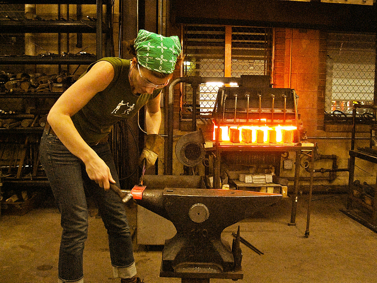 Forging sheet steel on the horn of the anvil. (trying to live up to my last name)