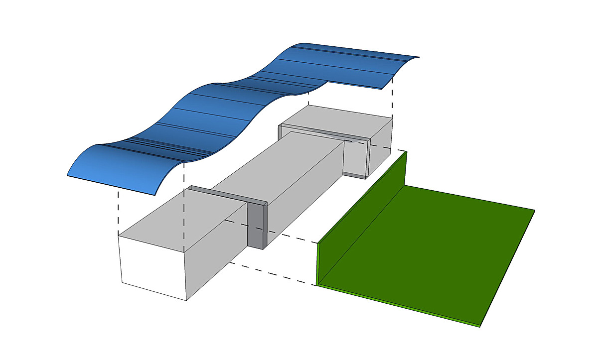Roof and south facade are the main elements to the project.