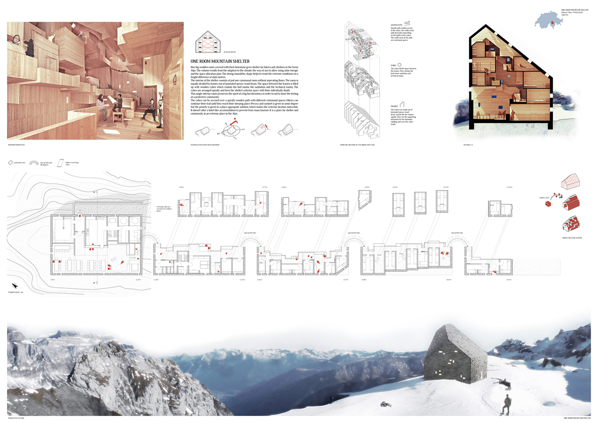 Honorable Mention: One room mountain shelter, Tobias Kusian