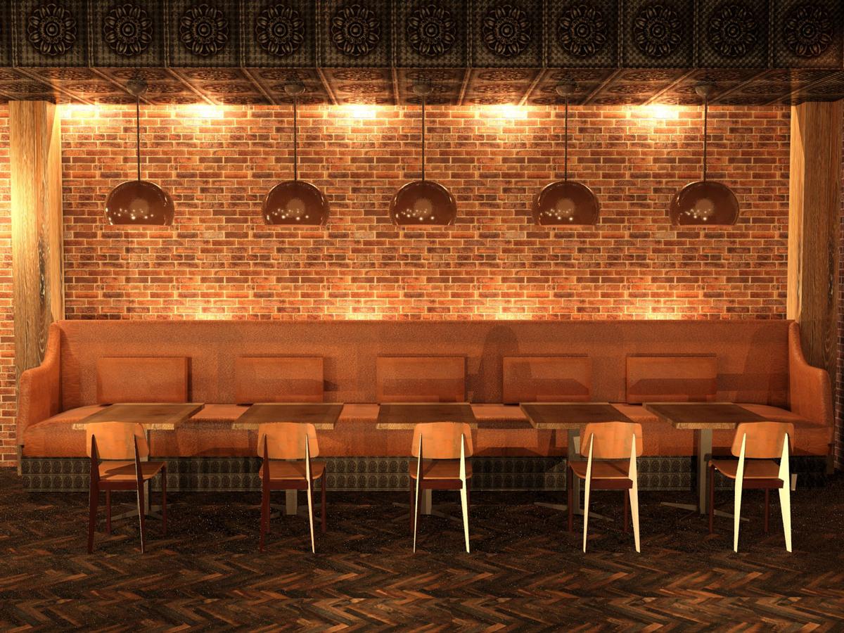 Lighting accentuates the brickwork