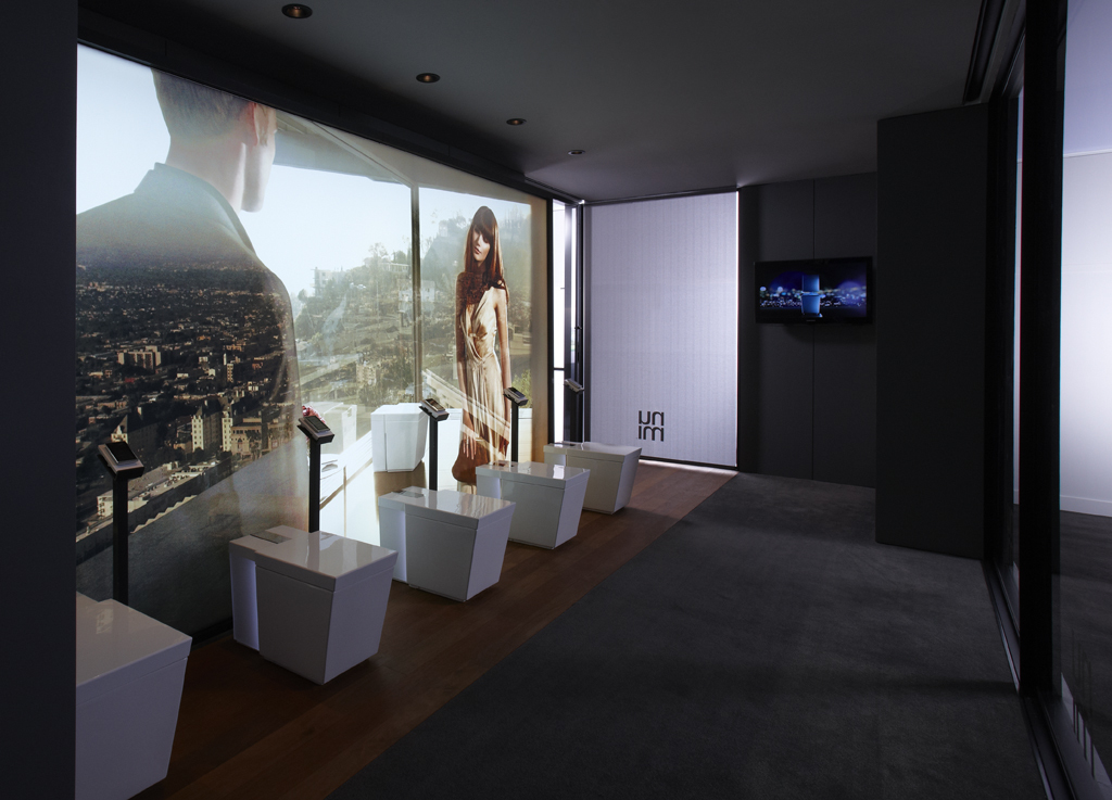 Architects Marmol Radziner Prefab created a pop-up showroom to debut Kohler numi at tradeshows. Pictured is an interior shot.