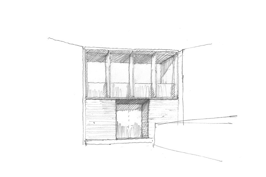 Sketch of the rear elevation