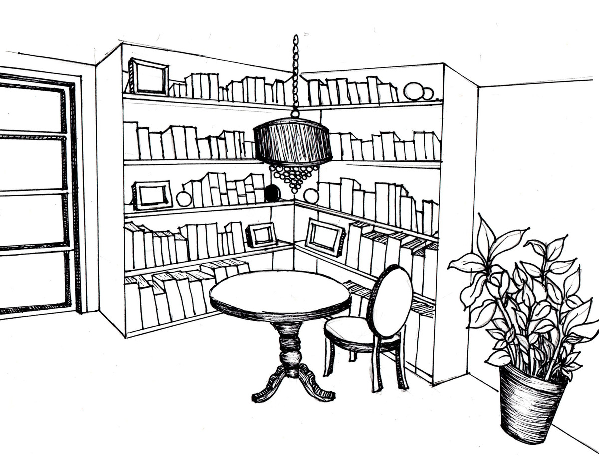 Master bedroom drawing - Master Bedroom Reading Nook Sketch