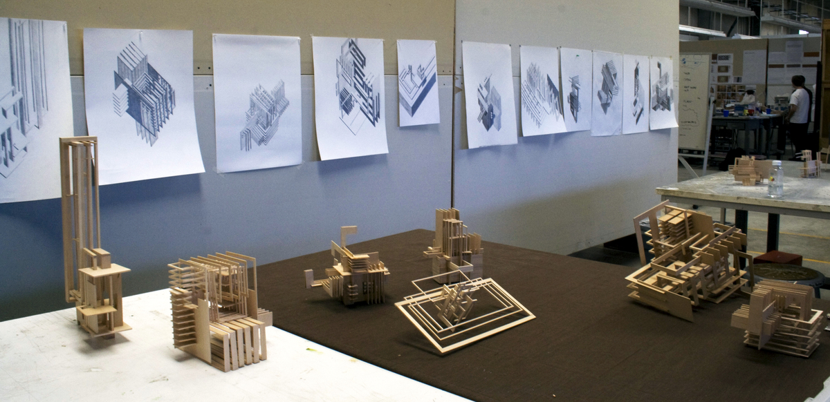 Axonometric drawings and models from Project 1