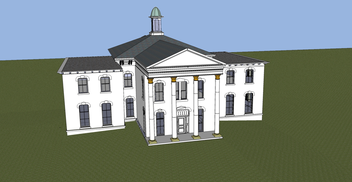 Perspective Image of Sketchup Model - New Main Entrance