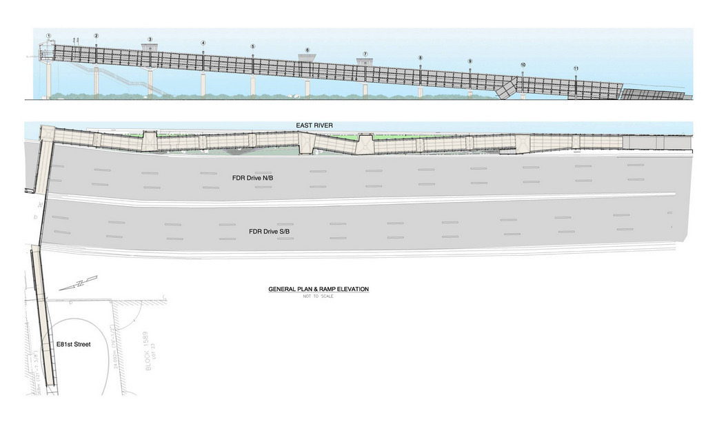 Illustration of proposed site plan and elevation showing ADA compliant ramp span along riverside.