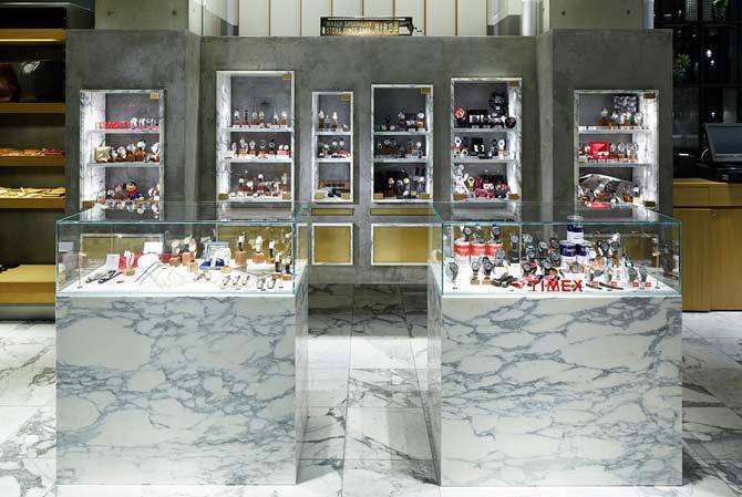 marble and concrete display counter and wall
