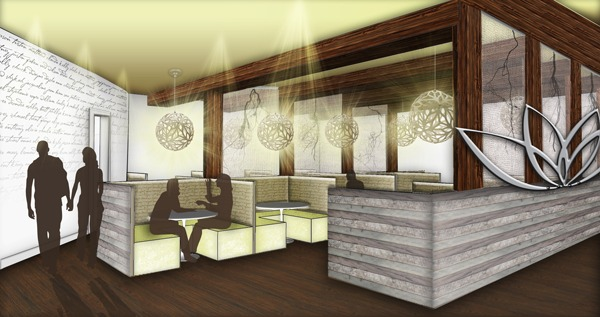 Rooted Restaurant and Tea Room Banquette Seating View: Google SketchUp, Adobe Photoshop