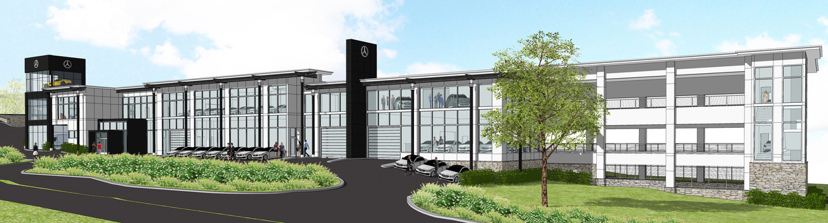 Showroom Building - West Facade Perspective