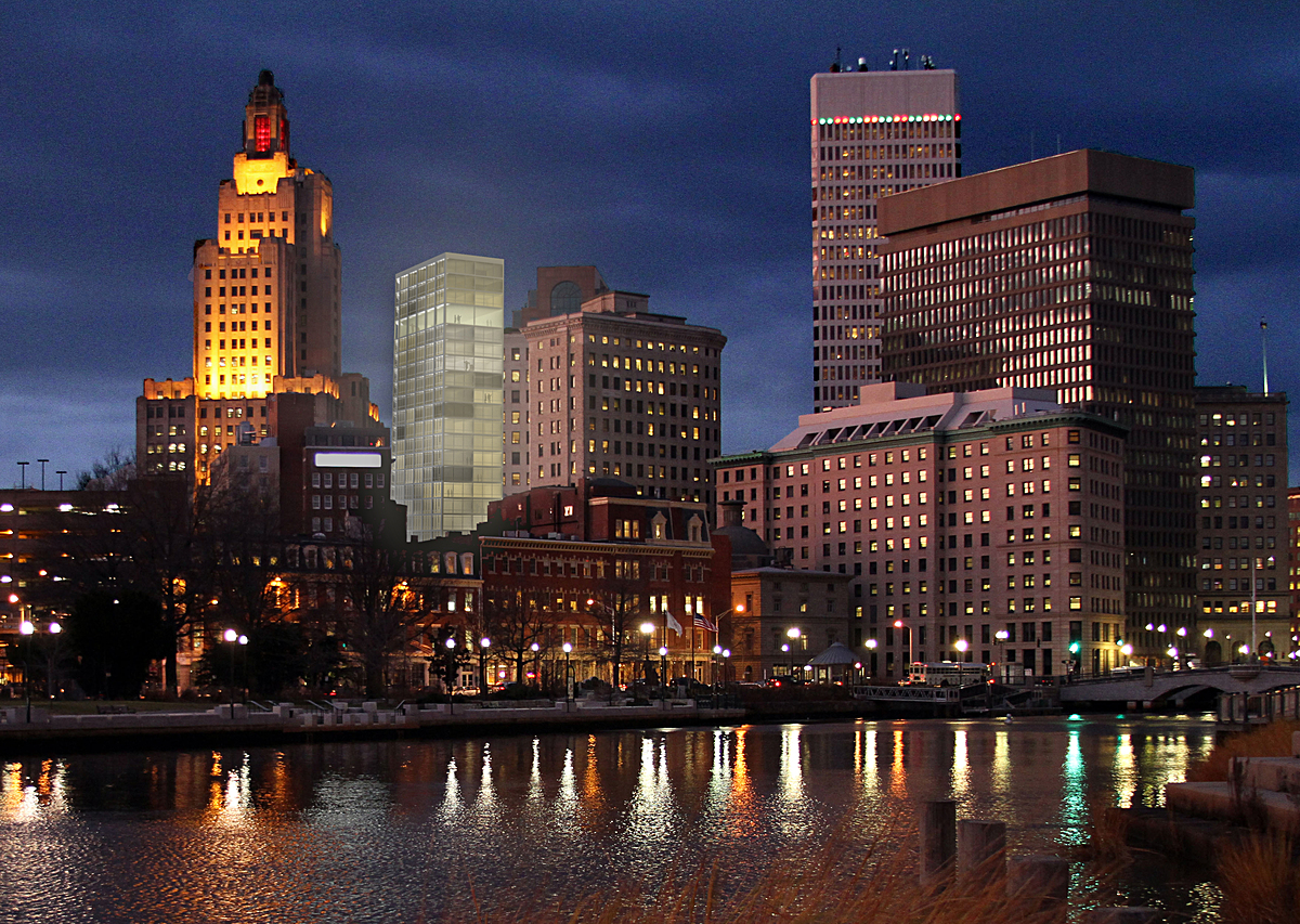 Providence skyline with proposed hotel tower.
