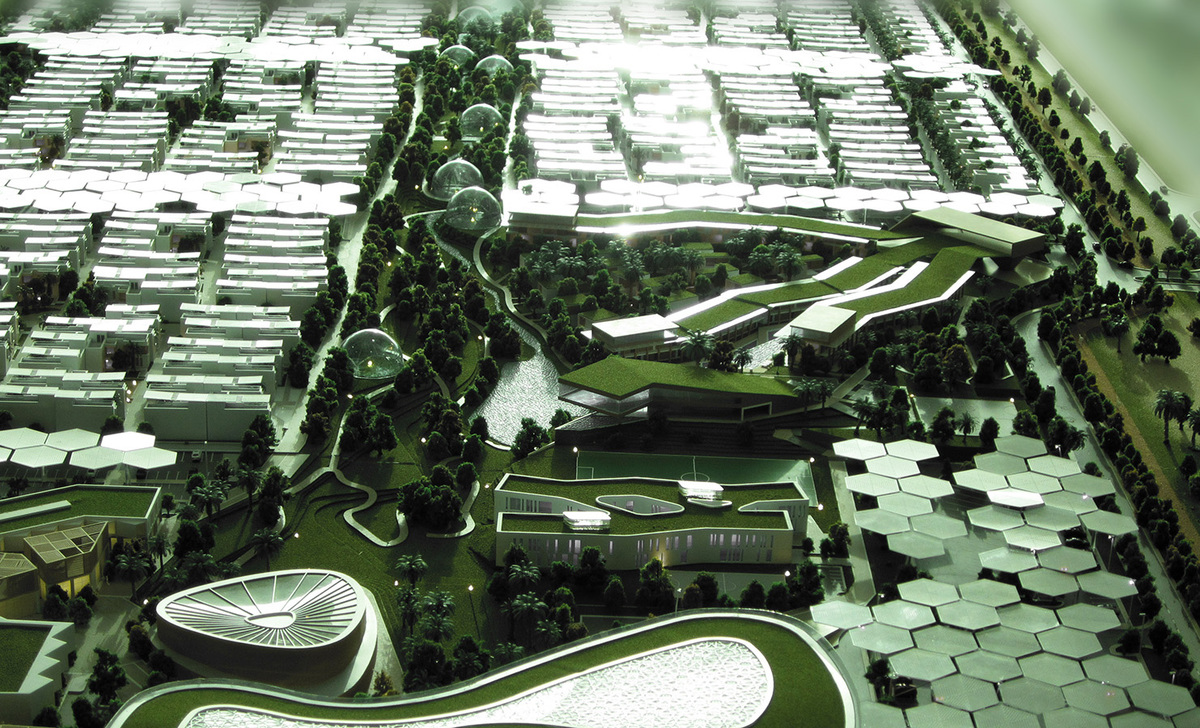 Aerial view of the winning Phase-2 concept for Dubai Sustainable City by Baharash Architecture (Image: Baharash Architecture)