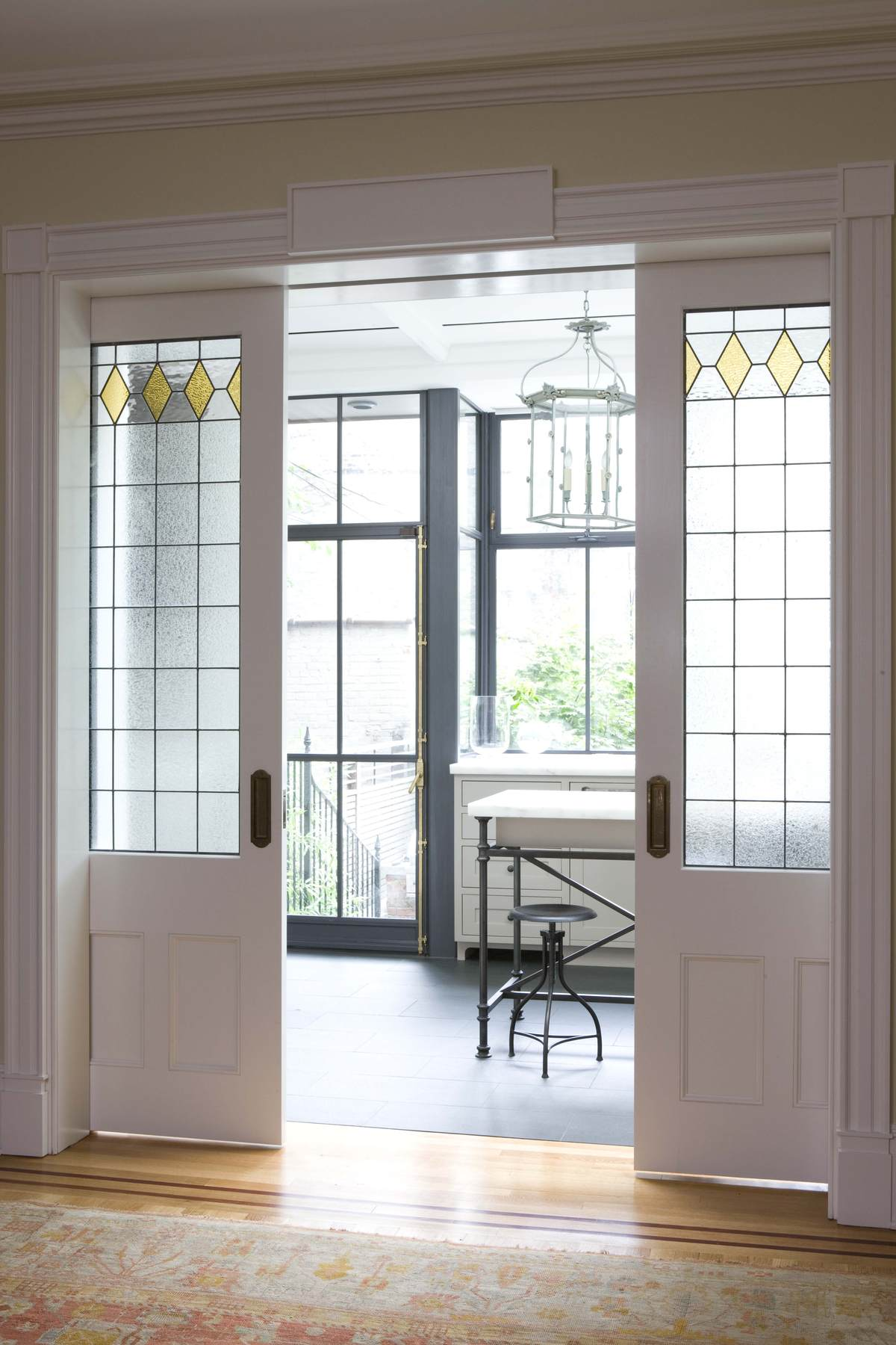 Brooklyn rowhouse robinson grisaru architecture pc for Pocket sliding glass doors