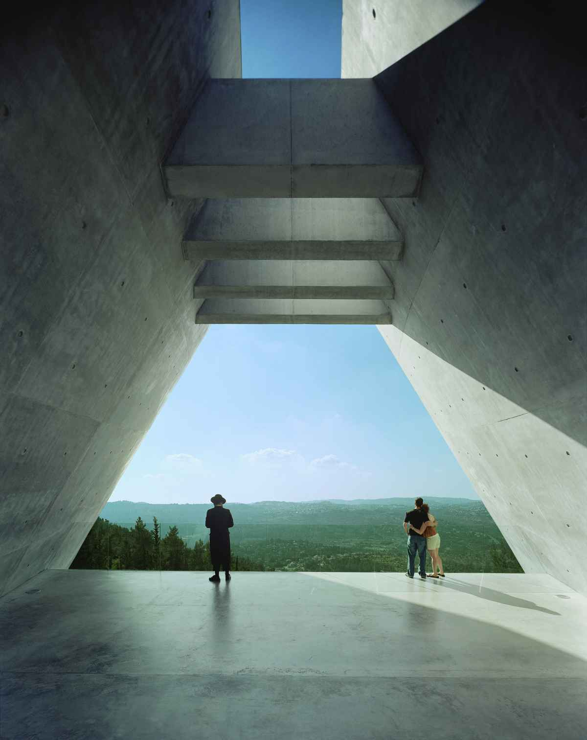 The Yad Vashem Holocaust Museum: view from prism. Credit: Timothy Hursley
