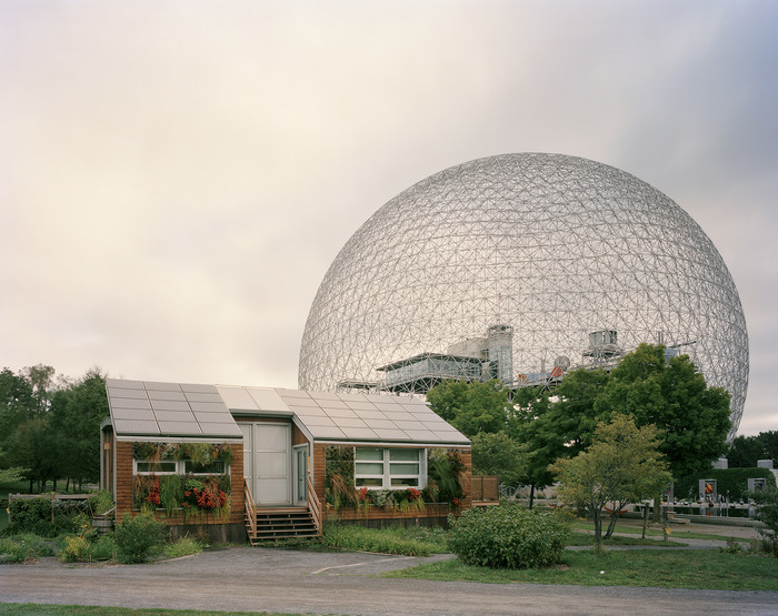 Jade Doskow's photo of Buckminster Fuller's Geodesic Dome with Solar Experimental House from the Montreal 1967 World's Fair,