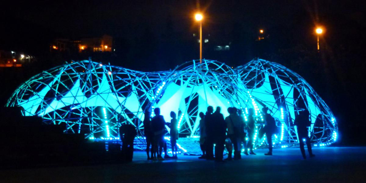 Pavilion visitors at night